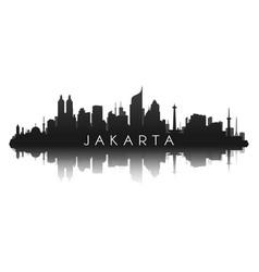 jakarta skyline silhouette in black vector image