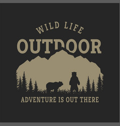 Journey into wild badge t-shirt design on a vector