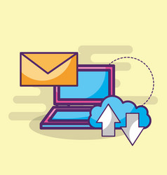 laptop email message cloud storage upload and vector image