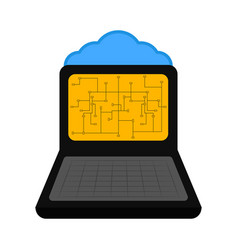 laptop with a cloud technology vector image