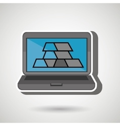 Laptop with bars gold isolated icon design vector