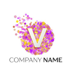 Letter v logo with purle particles and bubble dots vector