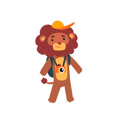 Lion animal cartoon character traveling on vector