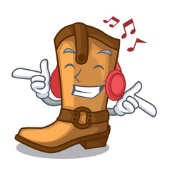 Listening music old cowboy boots in shape vector