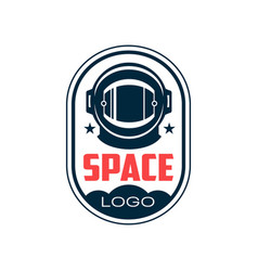 Logo with astronaut s protective helmet in outline vector