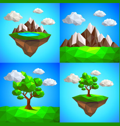 low poly landscape with tree mountains vector image