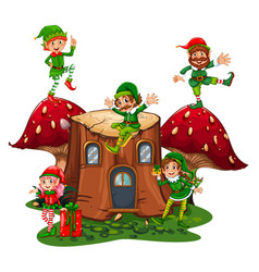 Many elves on log home in garden vector