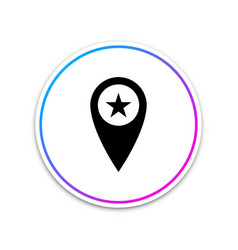 map pointer with star icon isolated on white vector image