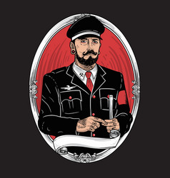 military character bearded mustache tattoo vector image