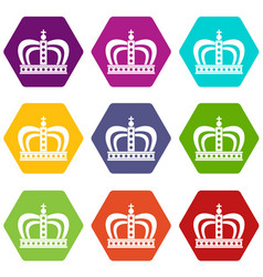 Monarchy crown icon set color hexahedron vector