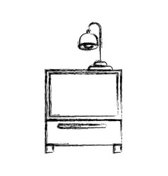 Monochrome blurred silhouette of nightstand with vector