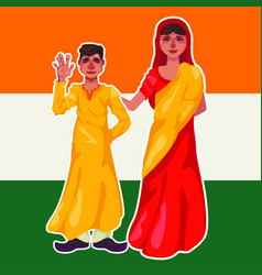 Mother and son of a hindu in national clothes vector