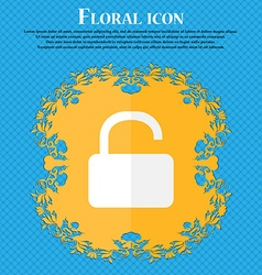Open Padlock icon Floral flat design on a blue vector image