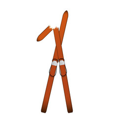pair old wooden alpine skis one is broken vector image