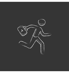 Paramedic running with first aid kit Drawn in vector image