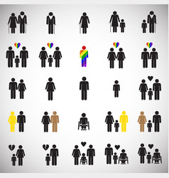 People gender race orientation age set on white vector