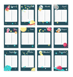 Planner calendar template with space vector