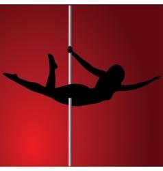 Pole dancer in pole dance Superman Isolated vector