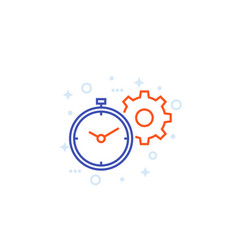 productivity linear icon with stopwatch cogwheel vector image