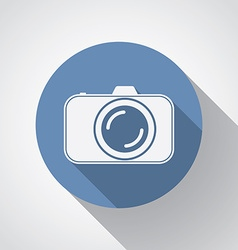 Professional photocamera flat icon with long vector