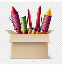 Pyrotechnics box realistic composition vector