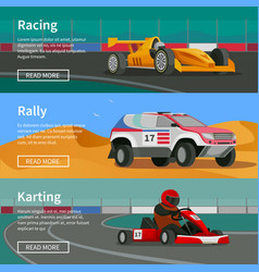 Racing horizontal banners collection vector