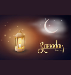 ramadan kareem greetings with fanus in a dark vector image
