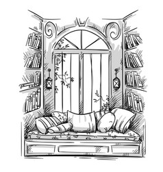 reading nook cozy window seat drawing vector image