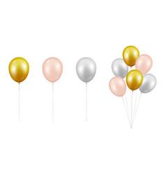 realistic glossy metallic golden pink vector image