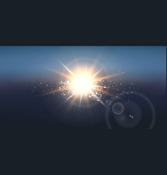Realistic sun wide background vector