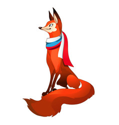 red fox forest with fluffy tail with scarf in the vector image