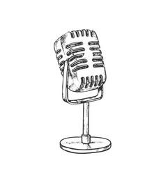 Retro vocal radio microphone monochrome vector