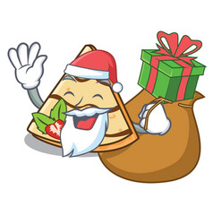 Santa with gift crepe mascot cartoon style vector