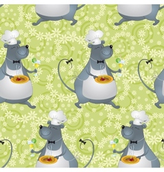 Seamless background cartoon rat cook vector image