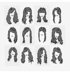 Set of women hairstyles vector