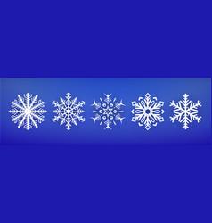 set snowflake icon christmas and winter theme vector image