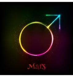 Shining neon light mars astrological symbol vector