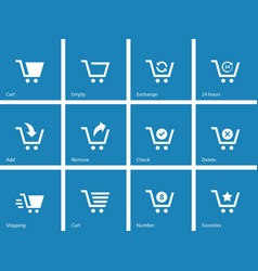 Shopping cart icons on blue background vector image
