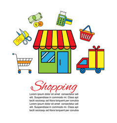 shopping delivery car with vector image