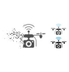 Shredded dotted halftone radio camera drone icon vector