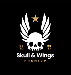 skull and wings on black t shirt logo icon vector image