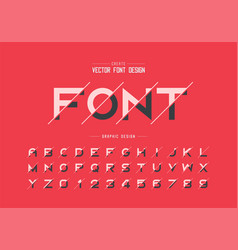 Sliced font and alphabet bold typeface letter vector
