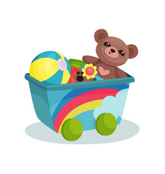 small wagon with rainbow full of children toys vector image