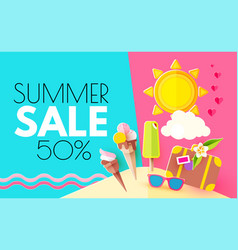 summer sale hot vacation design template enjoy vector image