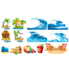 summer theme with blue waves and islands vector image