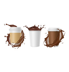 takeaway coffee coffee splashes and white vector image