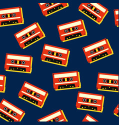 tape cassette music retro vintage seamless vector image