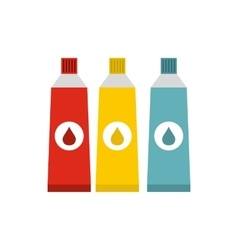 Three tubes with colorful paint icon flat style vector image