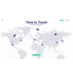 travel landing page concept world map vector image