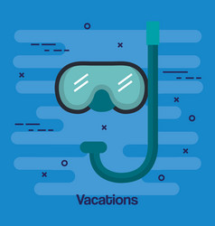 Vacations scuba mask and snorkel isolated on blue vector